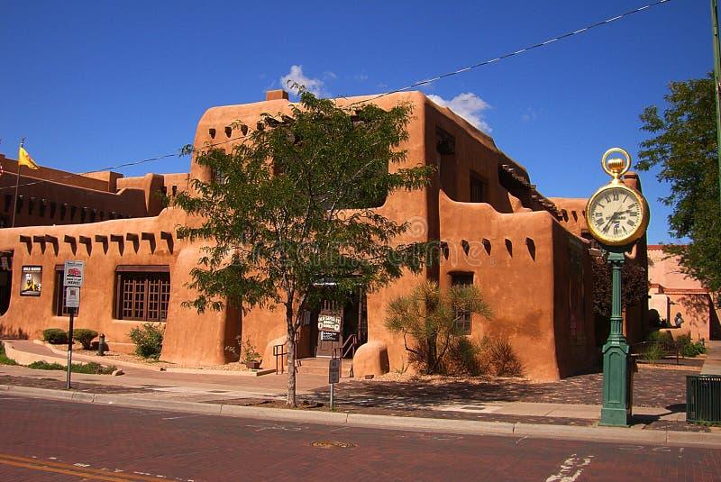 Santa Fe, New Mexico Architecture. Adobe architecture and clock tourist attractions in Santa Fe, New Mexico royalty free stock image