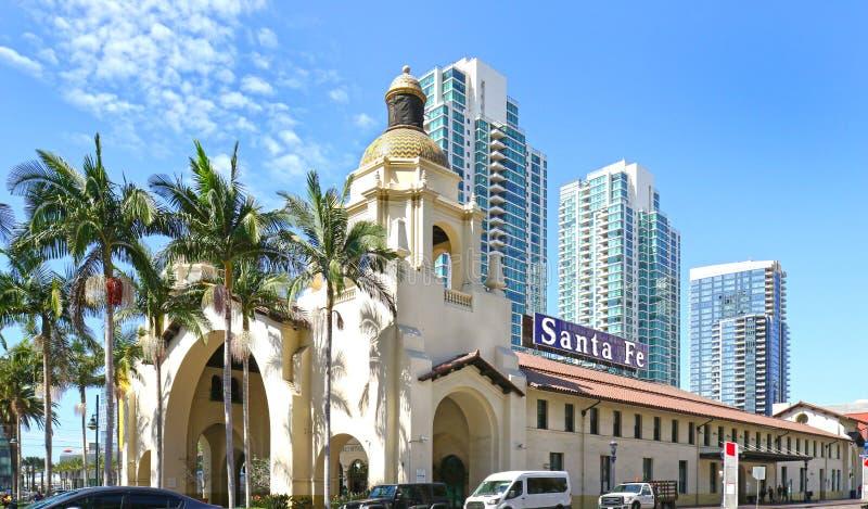 Santa Fe Train Depot, Spanish Colonial Revival style station. San Diego, California, USA. Blue Sky Day royalty free stock photos