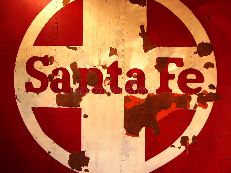 Santa Fe Train Logo. Close-up of a vintage abandoned railcar with the logo of the Santa Fe Railroad royalty free stock images