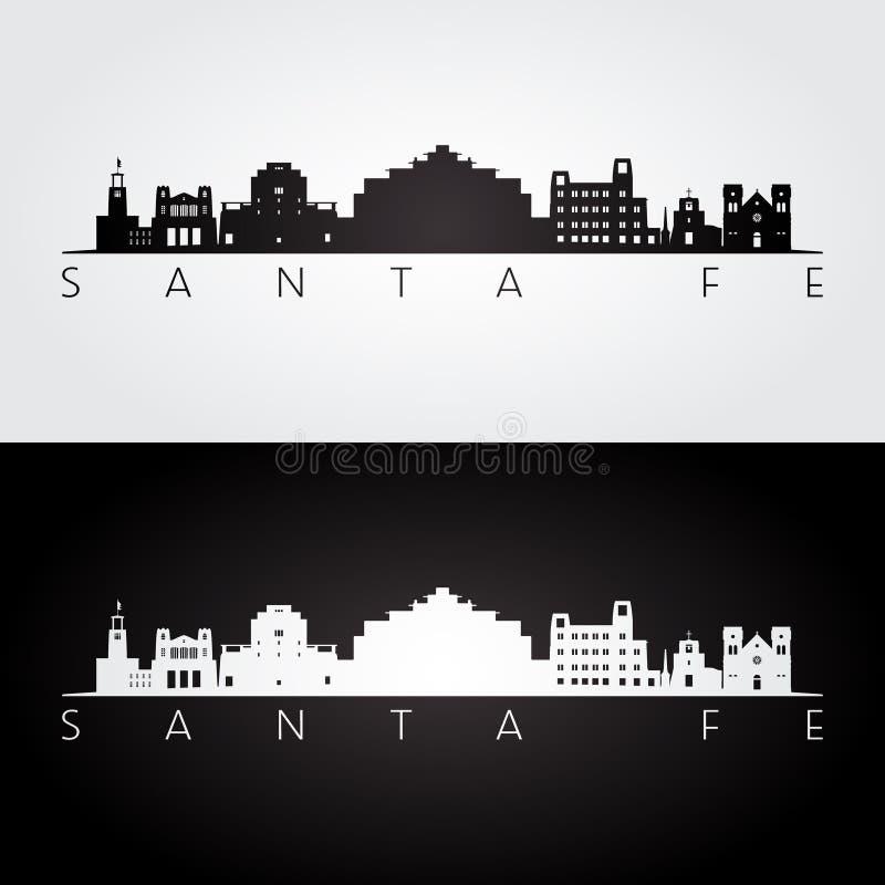 Santa Fe USA skyline and landmarks silhouette. Black and white design, vector illustration vector illustration
