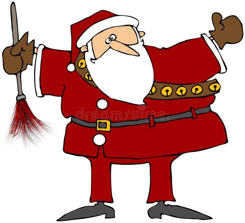 Santa With A Feather Duster royalty free illustration