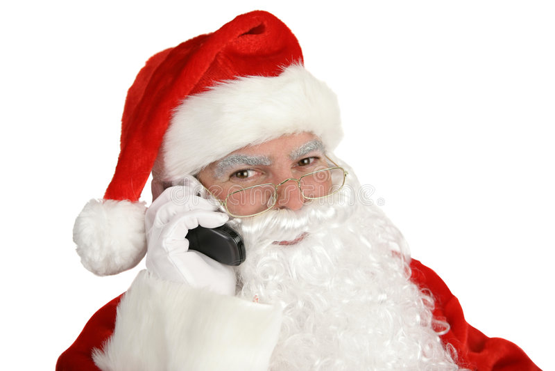 Santa feliz no telefone fotografia de stock