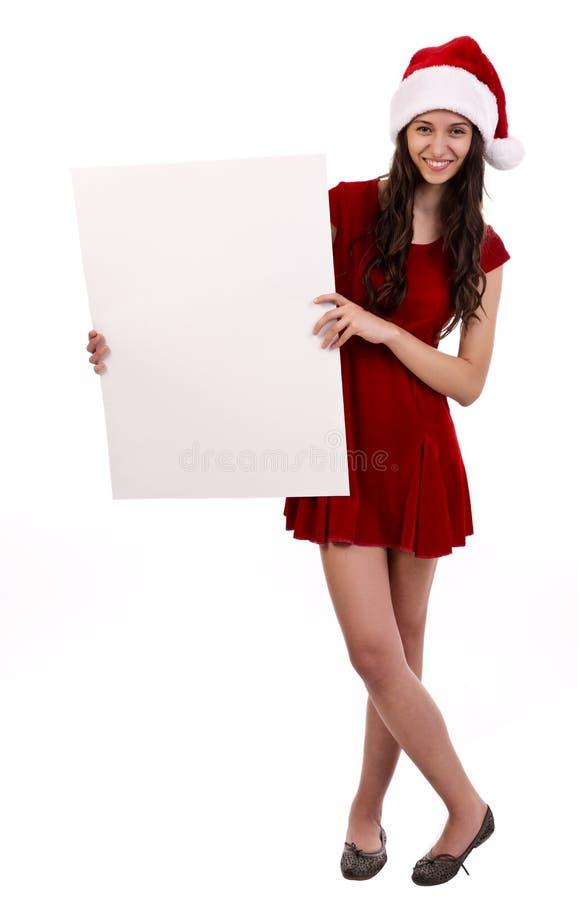 Santa femelle avec le panneau-réclame image stock