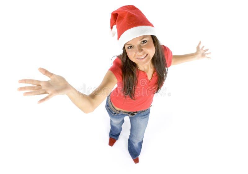 Santa femenino feliz joven y atractivo imágenes de archivo libres de regalías