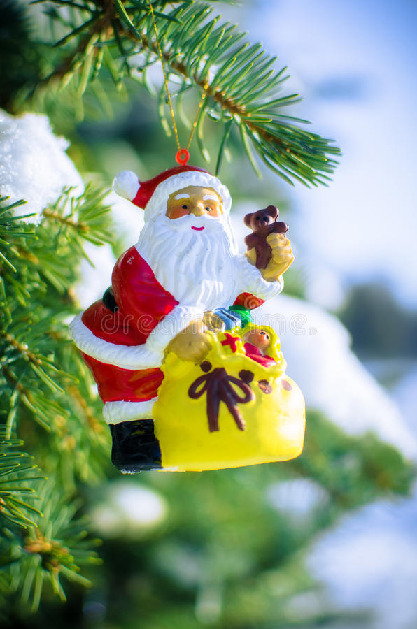 Download Santa On Fir Tree With Snow Outside Stock Image - Image: 83718815