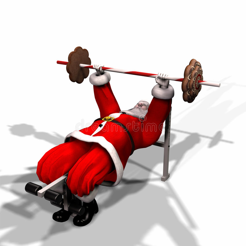 Santa Fitness 4. Santa Working Out by Lifting Weights. Getting ready for his flight. Bah Humbug Series