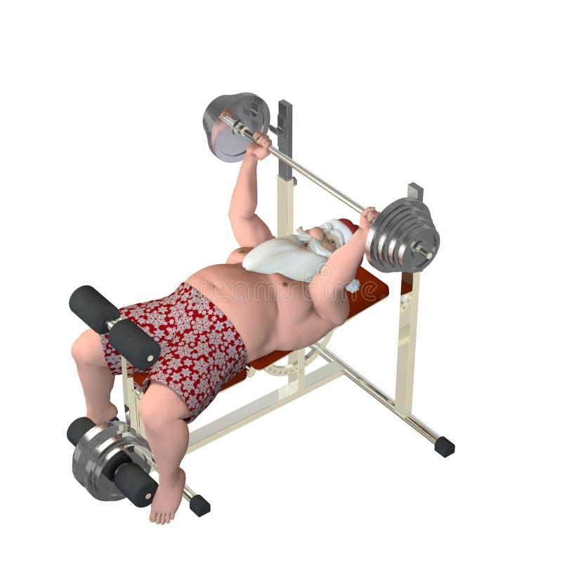 Santa Fitness - Lifting Weights royalty free illustration