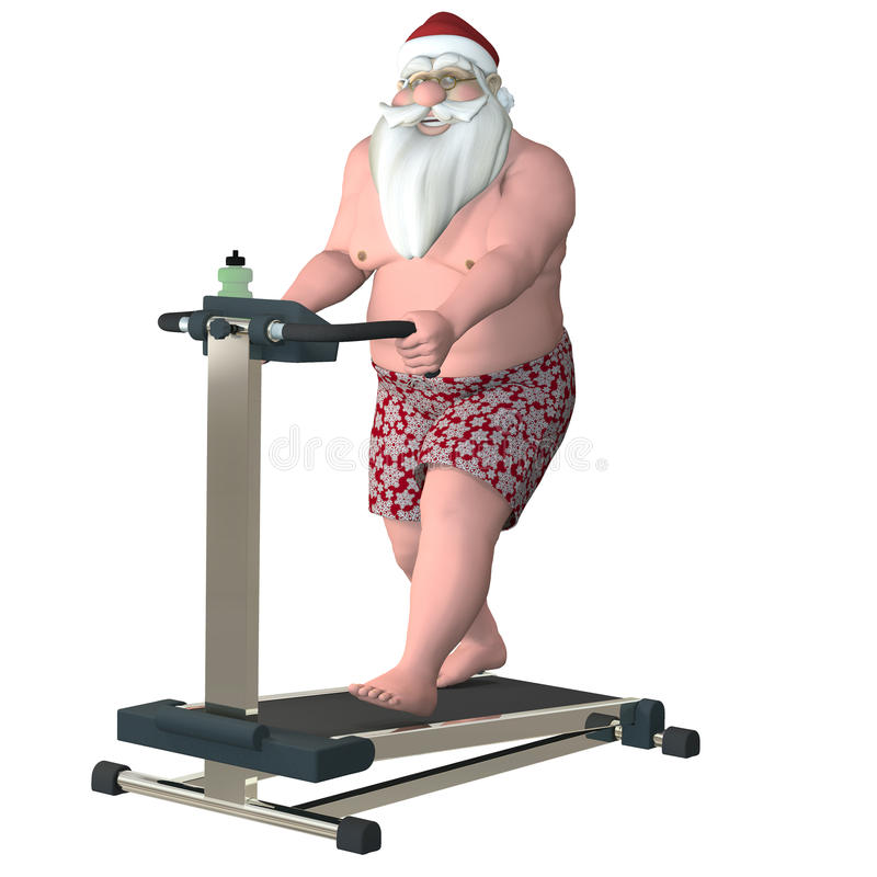 Santa Fitness - trampkvarn vektor illustrationer