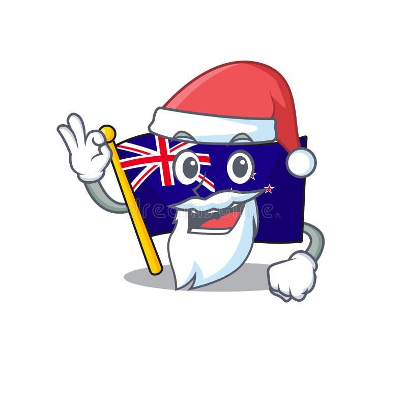 Santa flag new zealand in cartoon drawer. Vector illustration royalty free illustration