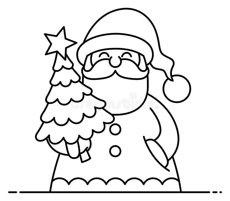 Santa Flat Design Line Art stock photos