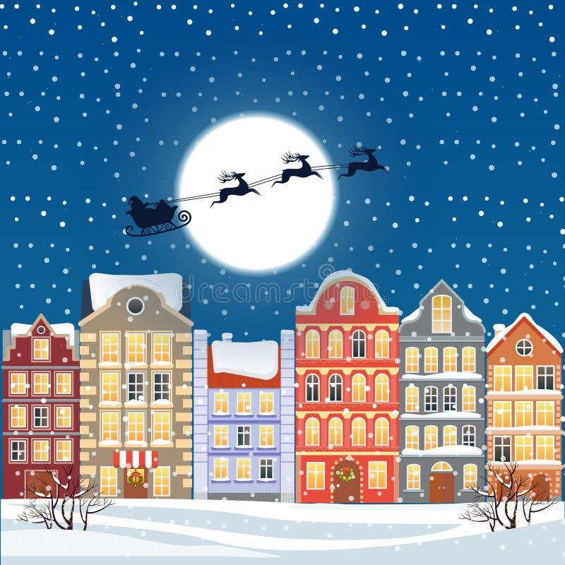 Santa flying through the night sky under the christmas old town illustration. Cartoon buildings background. City street stock illustration