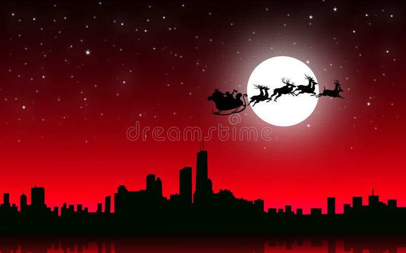Santa Flying Santa con el trineo en la ciudad de la noche de la Navidad - vector stock de ilustración