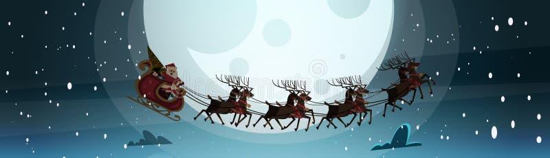 Santa Flying In Sledge With-Rendieren in Nachthemel over Maan, Vrolijke Kerstmis en Gelukkige de Wintervakantie van de Nieuwjaarb stock illustratie