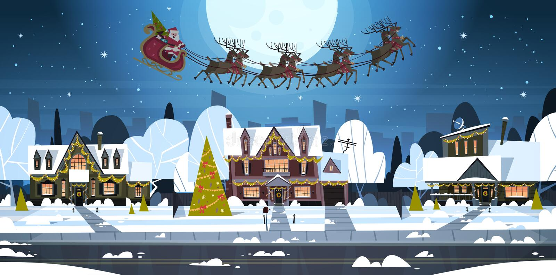 Santa Flying In Sledge With-Rene im Himmel in Dorf-Häusern, frohen Weihnachten und guten Rutsch ins Neue Jahr-Fahnen-Winter vektor abbildung