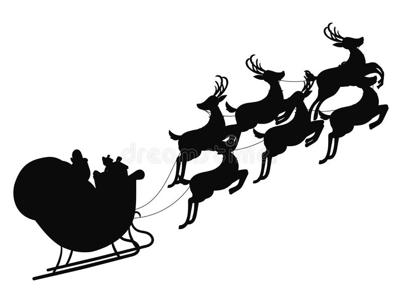Santa flying in a sleigh with reindeer. Vector illustration. Isolated object. Black silhouette. Christmas. Santa flying in a sleigh with reindeer. Vector royalty free illustration