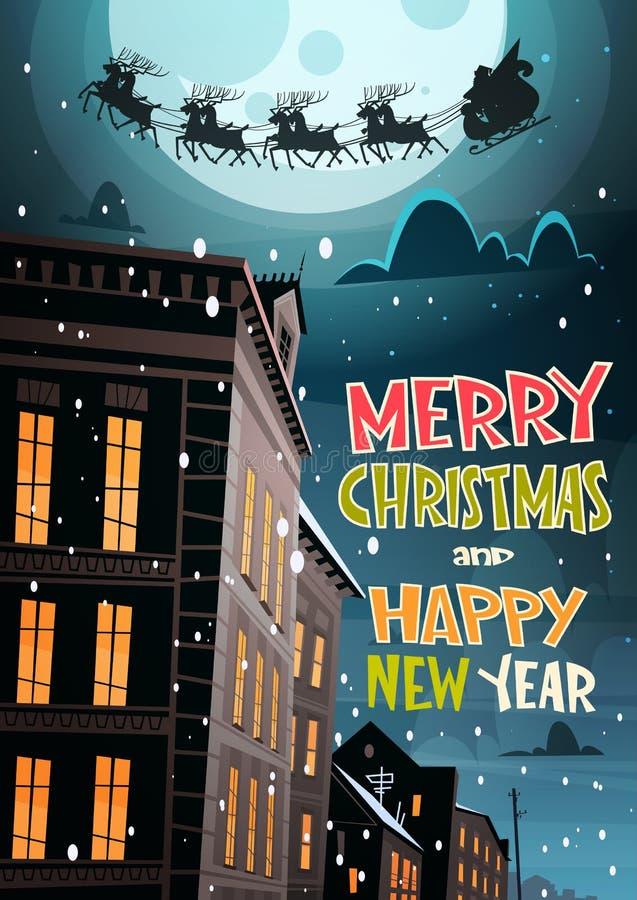 Santa Flying In Sleigh With-Rendieren in Nachthemel over Stad, Vrolijke Kerstmis en de Gelukkige de Kaartwinter van de Nieuwjaarg stock illustratie