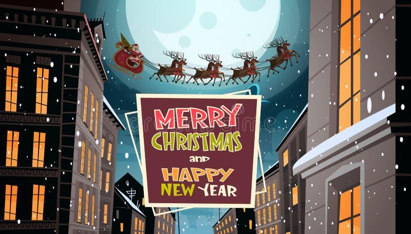 Santa Flying In Sleigh With-Rendieren in Nachthemel over Stad, Vrolijke Kerstmis en de Gelukkige de Kaartwinter van de Nieuwjaarg royalty-vrije illustratie