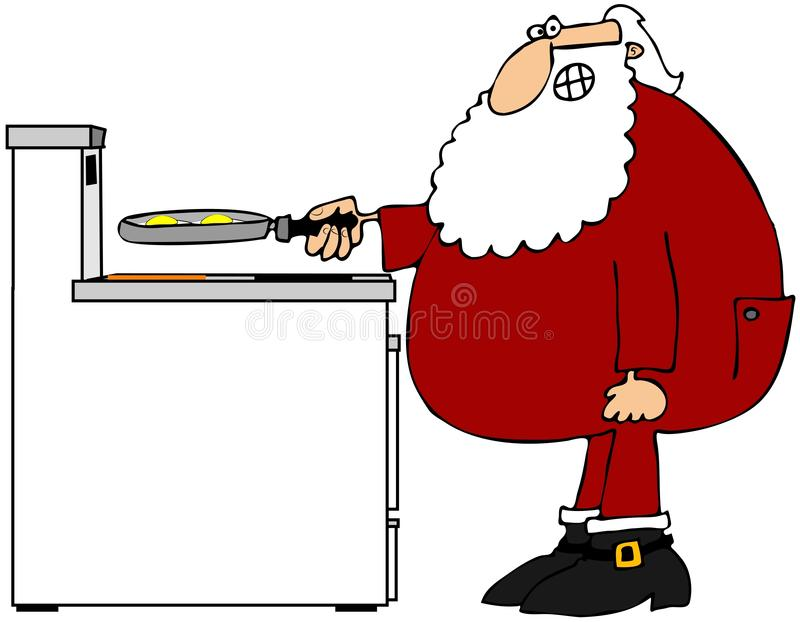 Download Santa frying eggs stock illustration. Image of cartoon - 28025637