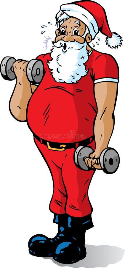 Santa getting in shape stock illustration