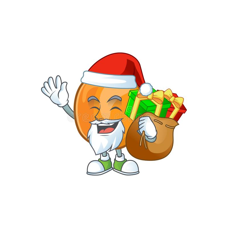 Santa with gift apricot fruit in the cartoon shape. Vector illustration stock illustration