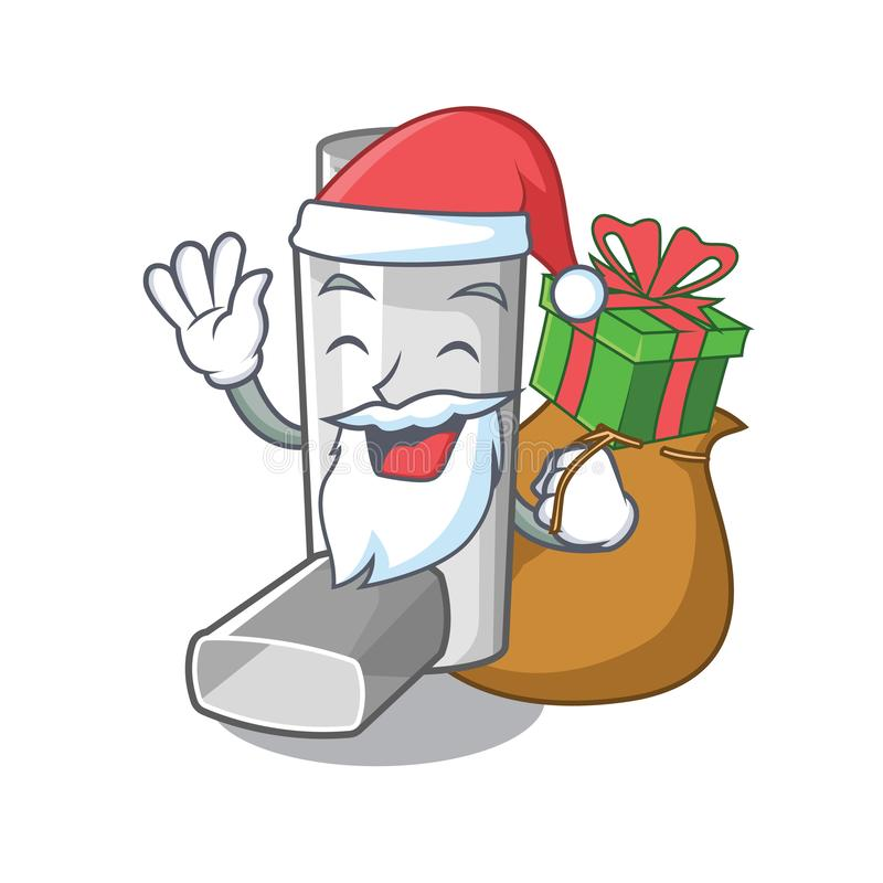 Santa with gift asthma inhaler in the character bag. Vector illustration stock illustration