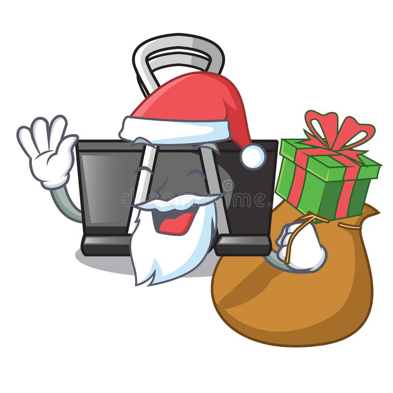 Santa with gift binder clip for charcter on documents. Vector illustration vector illustration