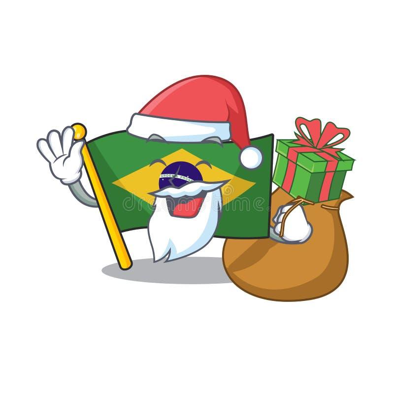 Santa with gift brazil flag kept in mascot drawer. Illustration vector stock illustration