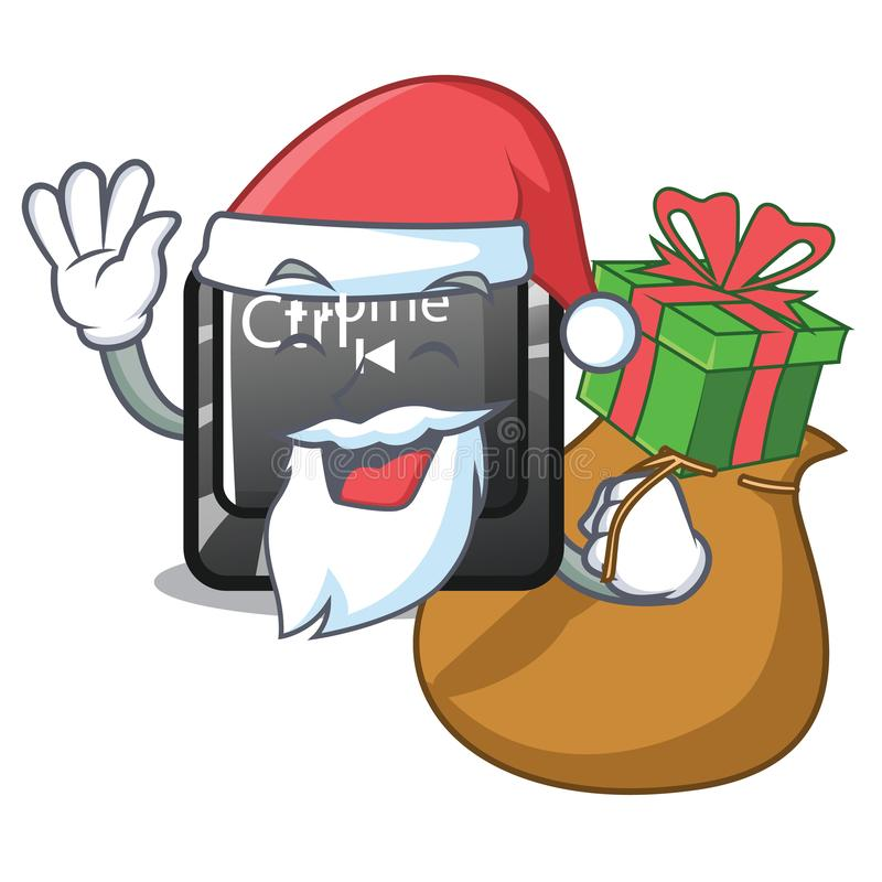 Santa with gift button home in the cartoon shape royalty free illustration