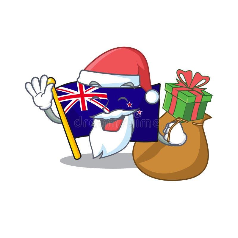 Santa with gift flag new zealand in cartoon drawer. Vector illustration stock illustration