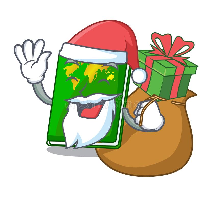Santa with gift green passport on the mascot table. Vector illustration vector illustration
