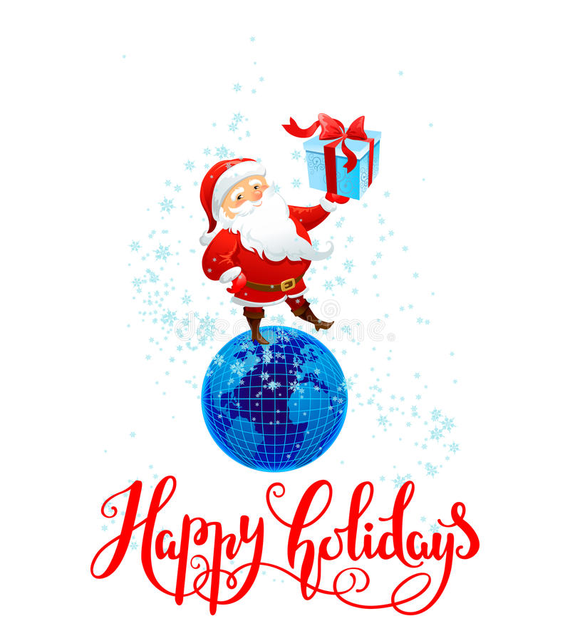 Santa with gift. Holiday Christmas background for banners, advertising, leaflet, cards, invitation and so on. Santa Claus, cartoon characters. Handwritten royalty free illustration