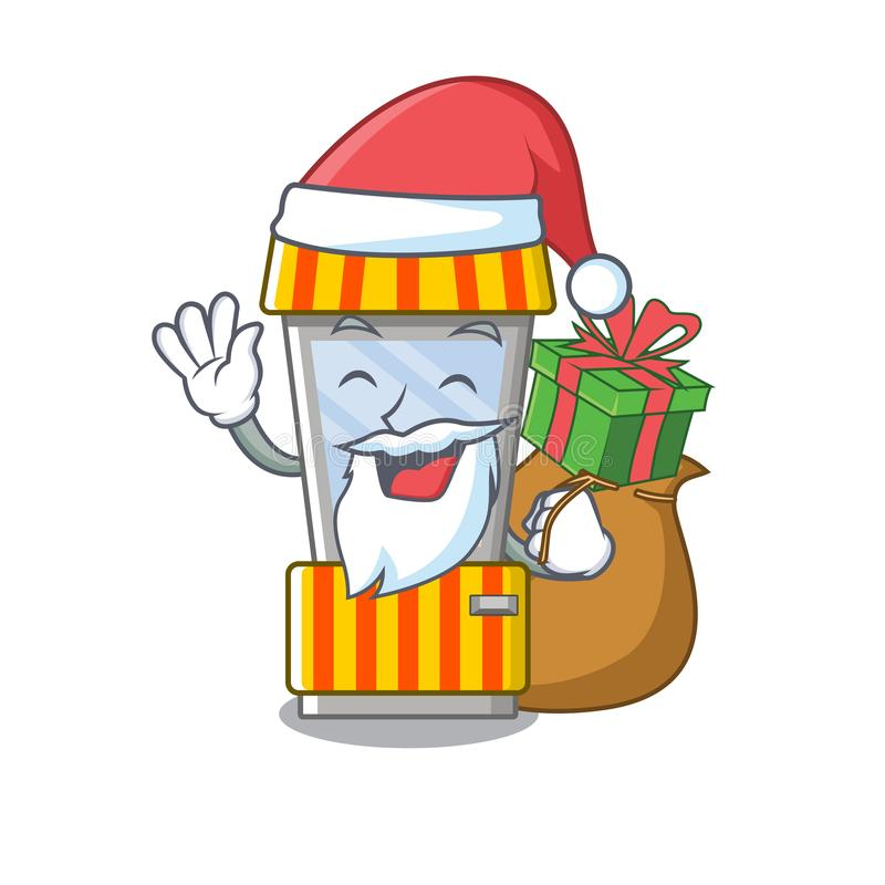 Santa with gift popcorn vending machine in mascot shape. Vector illustration stock illustration