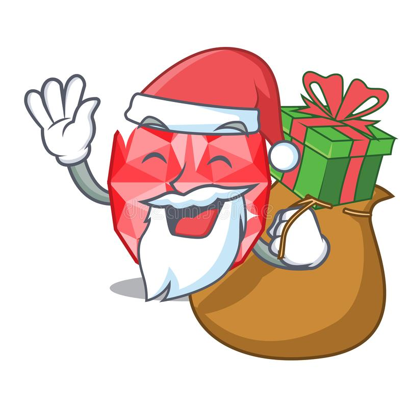 Santa with gift ruby gems in the mascot shape. Vector illustration stock illustration