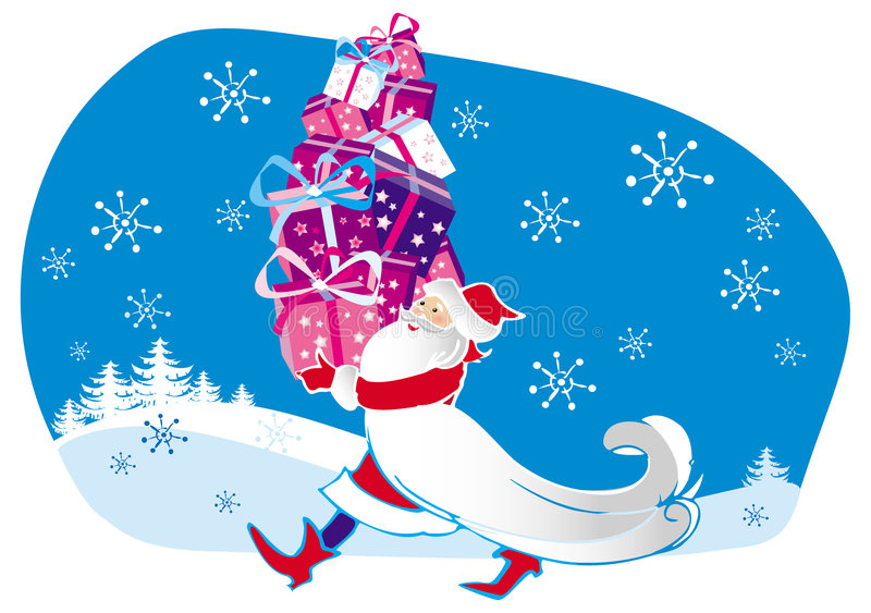 Santa and gifts stock illustration