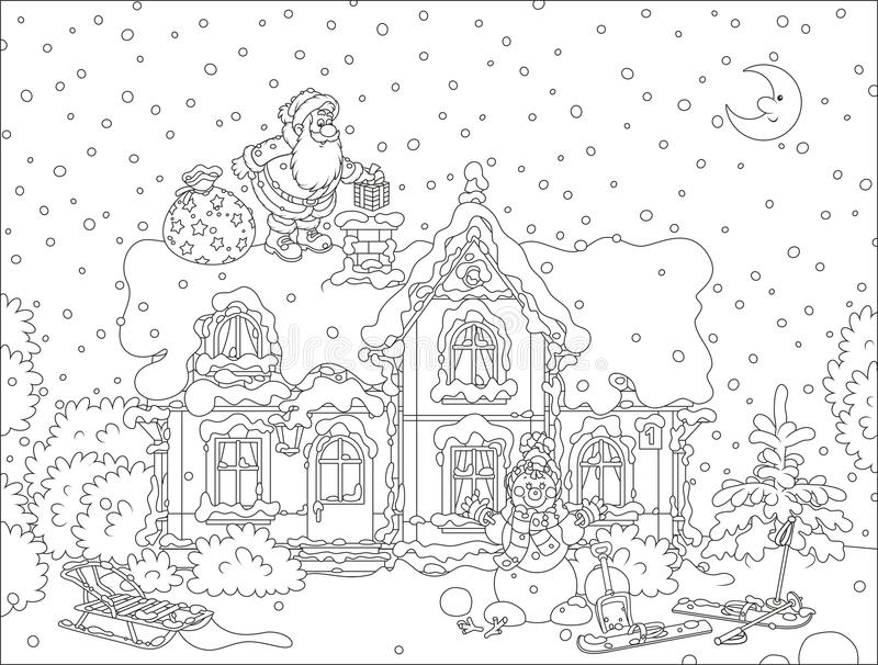 Santa with gifts on a rooftop. The night before Christmas, Santa Claus putting his holiday presents in a chimney on a snow-covered roof of a house vector illustration