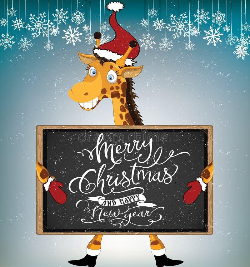 Santa Giraffe ilustração stock