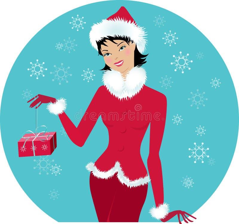 Santa-girl stock illustration