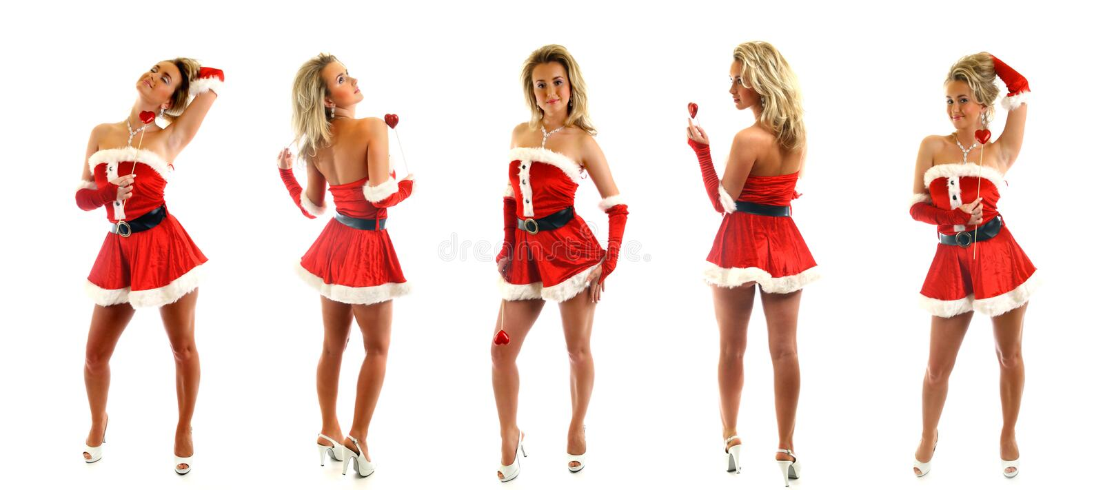 Santa girl. Posing on white background collect stock images