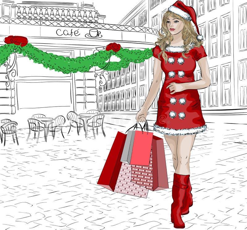 Santa girl with christmas gifts royalty free illustration