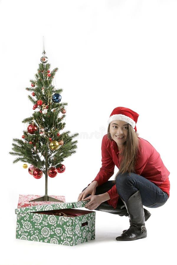 Santa Girl with Christmas tree royalty free stock photos
