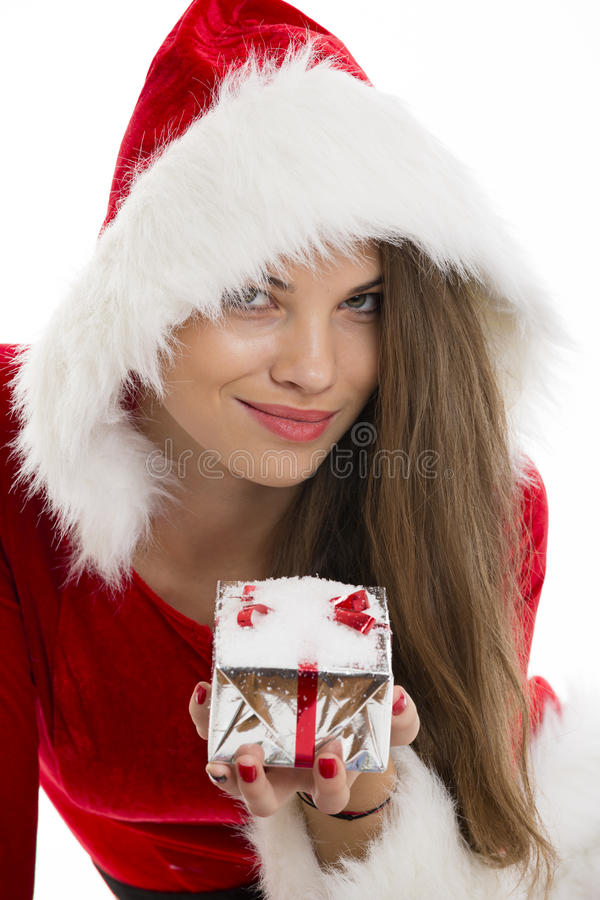 Santa girl and gift box royalty free stock image