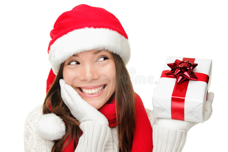 Santa Girl Holding Christmas Gift Stock Images
