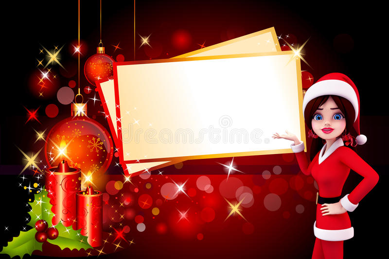 Download Santa Girl With Lots Of Christmas Cards Stock Illustration - Image: 26670854