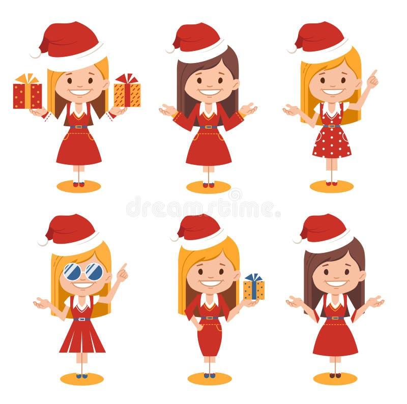 Santa Girl Mulheres de Santa Claus em chapéus e em vestidos vermelhos do vermelho Mulher do caráter do Natal em poses diferentes ilustração do vetor