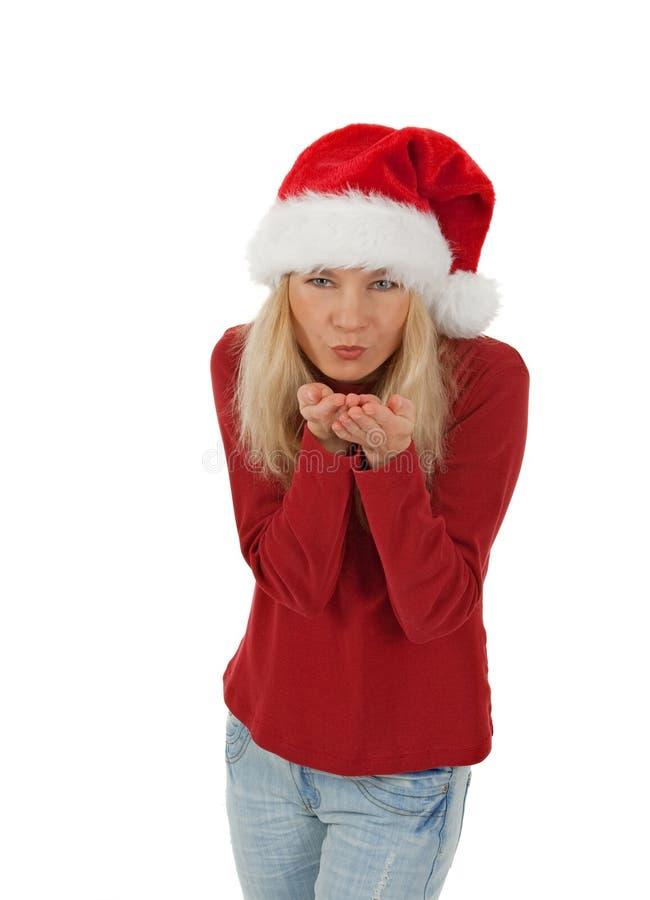 Santa Girl Sending A Kiss Stock Images