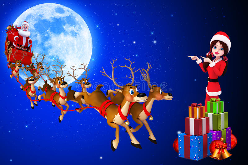 Download Santa Girl Is Showing Sleigh Stock Illustration - Image: 26666738