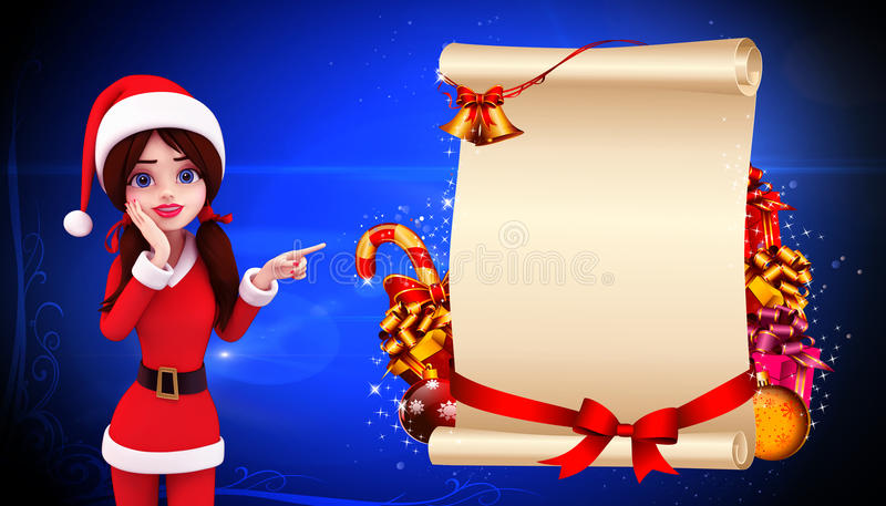 Download Santa Girl Standing Before A Big Sign Stock Illustration - Image: 26828361