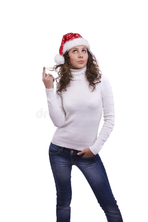 Download Santa Girl Is Thinking About Something Stock Photo - Image: 12094464