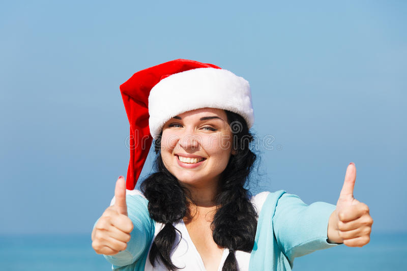 Santa Girl Thumbs Up imagem de stock