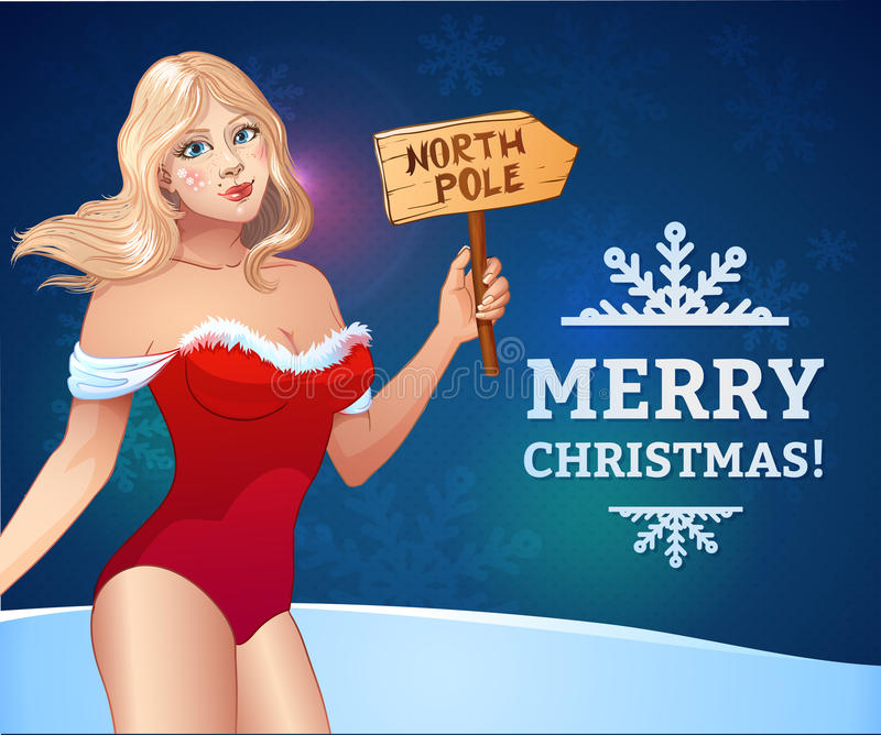 Santa girl with wooden plaque North Pole vector illustration